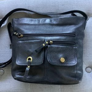 Stone Mountain Black Leather Shoulder Bag